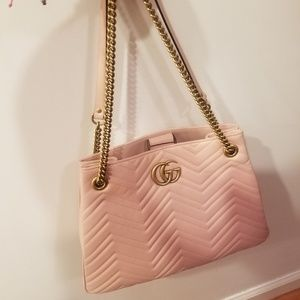 Gucci Marmont Gg Medium Pink Leather Tot